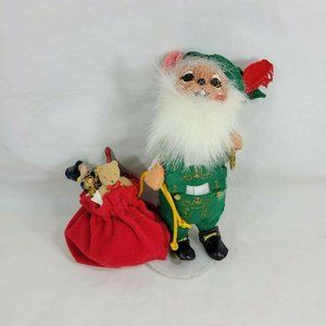 """Annalee 2004 Mobilitee Elf Mouse with Gift Sack 9"""""""